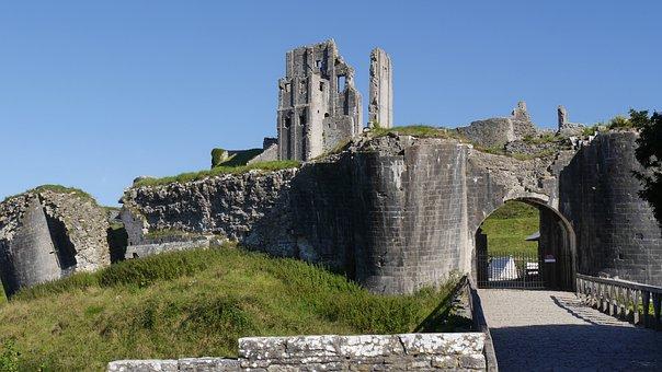 Corfe Caste Gb, Ruin, Castle, Historically