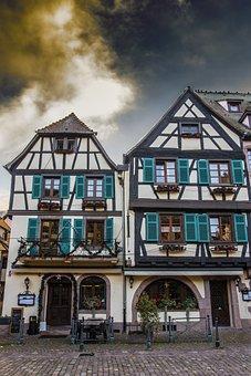 Fachwerkhäuser, Alsace, Kaysersberg, Old Town, Truss