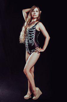 Swimsuit, Long Hair, Full-length, Black Background