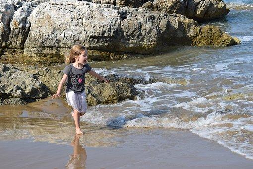 Sea, Beach, Game, Children, Rocks, Waves, Holidays
