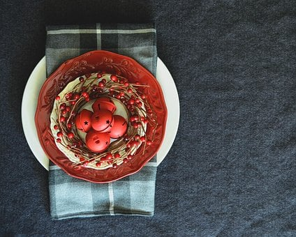 Christmas, Festive, Holidays, Red, From Above, Table