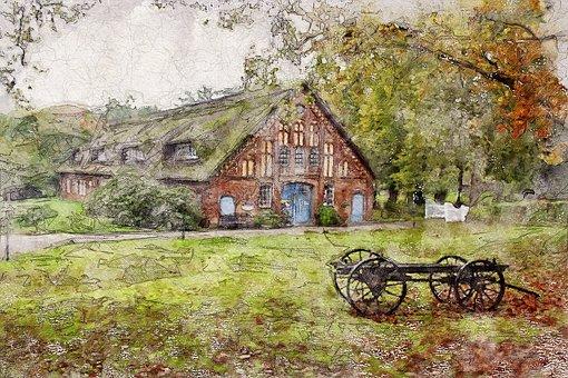 Farmhouse, Homestead, Hof, Building, Home, Farm