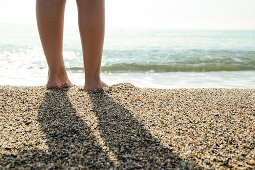Shoreline, Walking, Kids, Sand, Water, Beach, Shore