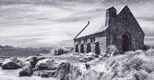 Church, Winter, Landscape, Landmark