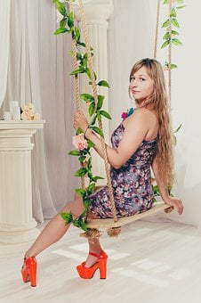 Swing, Girl, Interior, Long Hair, Photoshoot