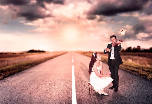 Marriage, Couple, Love, Highway, Violin, Romance