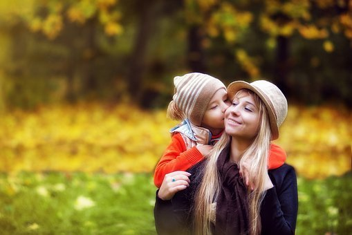 Park, Autumn, The Child With His Mother, Mom, Son