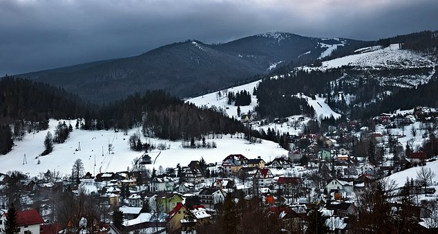 Mountains, City, Village, Houses, Tourism, Winter