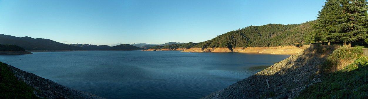Shasta Lake, Lake, Blue, Nature, Panorama, Green
