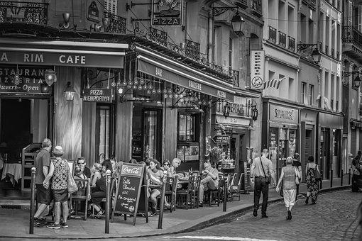 Paris, Cafe, Road, France, Places Of Interest