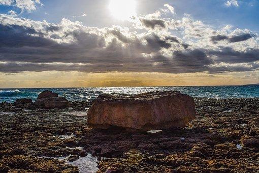 Rocky Coast, Rock, Sea, Horizon, Sky, Clouds, Nature