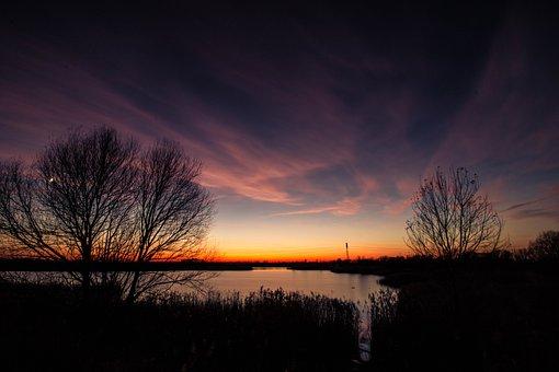 Lake, Sun, S, Sunset, Water, Nature, Abendstimmung
