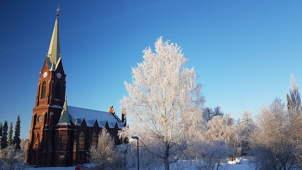 Mikkeli, Finnish, Cathedral, Winter, Frost
