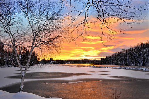 Winter Landscape, Sunset, Winter, Snow, Snowy Landscape
