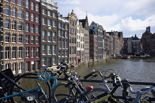 Amsterdam, Bicycles, Canal, Netherlands, Europe, Bike