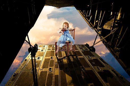 Violin, C130, Fly, Clouds, Fantasy