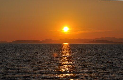 Sunset, Sea, Croatia, Colors, Orange, Sky, Mediterannee