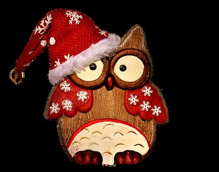 Owl, Figure, Wood, Christmas, Santa Hat, Cute, Snow