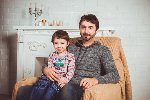 Family, Photoshoot, Armchair, Dad, Sons, Interior, Baby