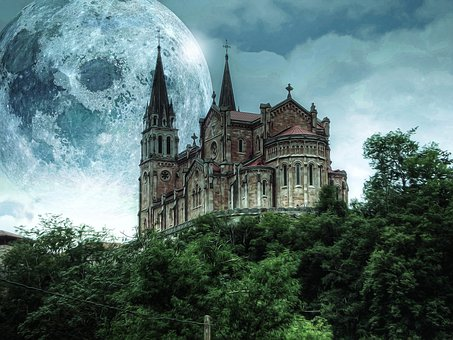 Castle, Moon, Trees, Fantasy, Dark, Gothic