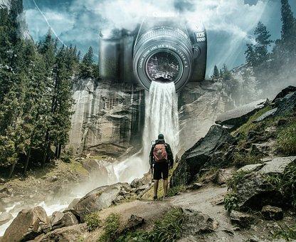 Mountains, Waterfall, Tourist, Camera, Journey