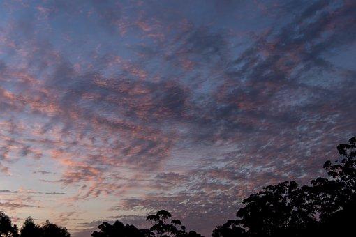 Sunset, Sky, Clouds, Pink, Blue, Pattern, Criss-cross