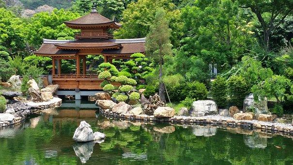 Japan, Garden, Temple, Pond