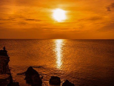Sunset, Hazy, Afternoon, Sky, Clouds, Sea, Coast, Rocky