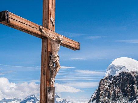 Cross, Valais, Mountains, Breithorn, Snow
