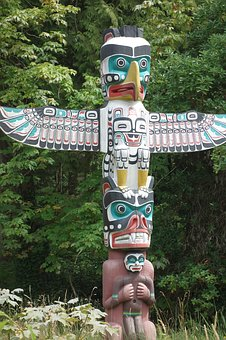 Totem, Canada, Indians, Log, Vancouver Island