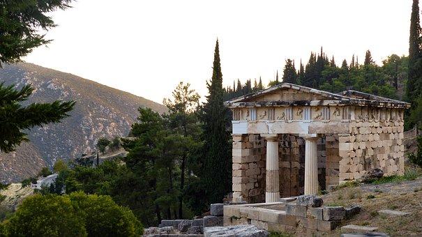 Delphi, Greece, Antique, Oracle, Temple, Treasure