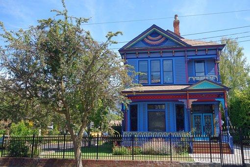 Home, Blue, Victorian, Canada, Victoria, Blue Home