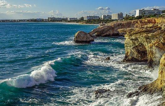 Cyprus, Ayia Napa, Coastline, Rocky Coast, Waves