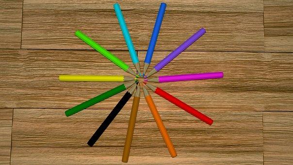 Pencils, Pencils On The Floor, Colored Pencils, 3d