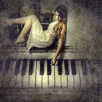 Cd Cover, Woman, Piano, Composing, Photo Manipulation
