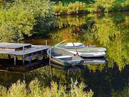 Boats, Investors, Lake, Autumn, Rest, Mirroring