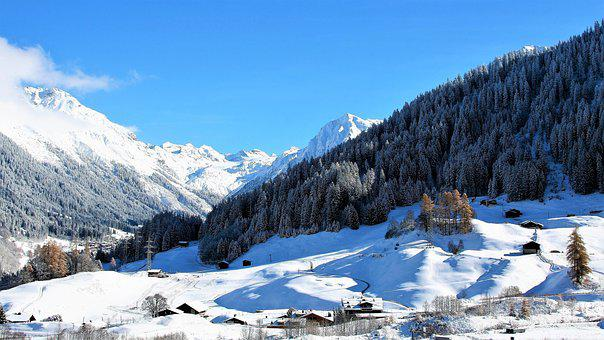 Panorama, Winter, Mountains, Landscape, Top View, Mood