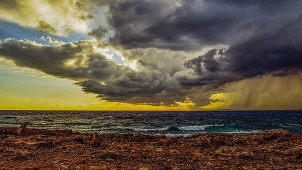 Rocky Coast, Sky, Clouds, Overcast, Weather, Sea