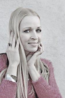 Woman, Smile, Blonde, Eyes, Hands, Facial