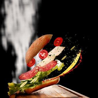 Sandwich, Flying Food, Movement, Food, Roll, Snack