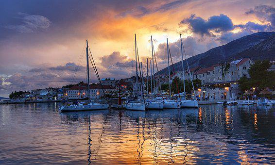 Sunset, Harbour, Port, Boats, Croatia