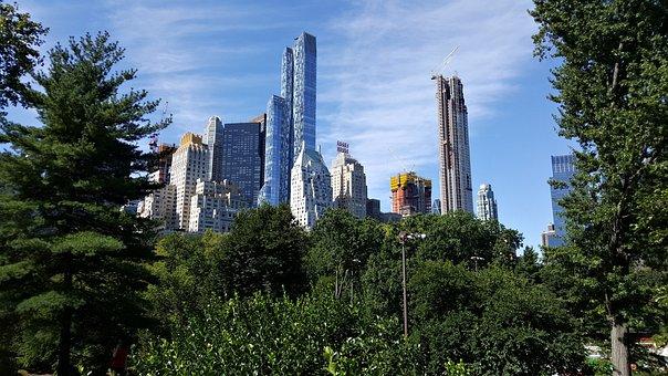 New York, Usa, Skyscraper, Skyline, Central Park, City