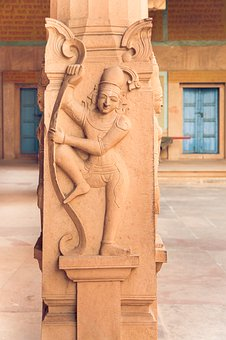 Indian Statue On The Column, Vrindavan, Rock, Travel