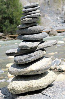 Stones, River, Water, Bank, River Landscape, Pyramid