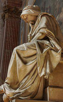 Church, Statue, Thinking, Sad, Lady, Woman, Italy