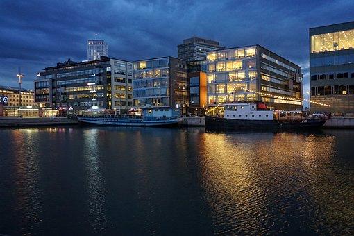 Malmö, Port, Architecture, Building, Sweden, Blue, City