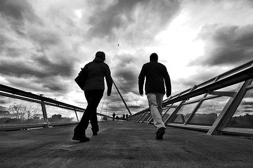 Two, People, Walk, Drama, Perspective, White, Black