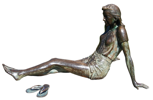 Woman, Girl, Young, Sitting, Bronze, Statue, Beauty