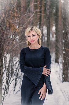 Winter, Forest, Woman, Black Dress, Gothic, Gloomy