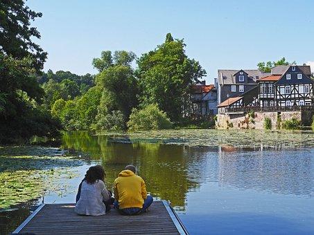 Marburg, Lahn, The Lahn Valley, River, Dammed